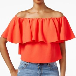 Rachel Roy Off-Shoulder Flutter-Sleeve Crop Top